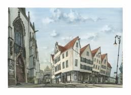 Münster Bild Zeichnung Poster Druck Drubbel lamberti prinzipalmarkt
