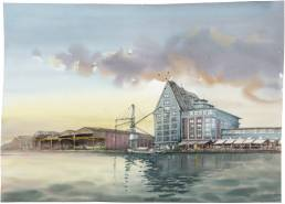 Hafen muenster Bild Zeichnung Gemälde Aquarell