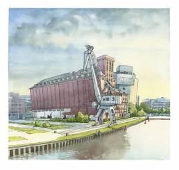 muenster Bild Bilder Zeichnung Gemälde Aquarell Hafen