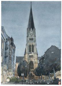 muenster Bild Bilder Zeichnung Gemälde Aquarell Kreuzkirche