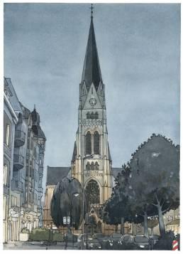 Kreuzkirche Münster Bild Bilder druck Zeichnung aquarelll