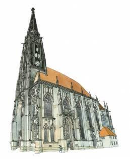muenster Bild Bilder Zeichnung Gemälde Aquarell Lambertikirche