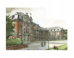 muenster Bild Bilder Zeichnung Gemälde Aquarell Schloss